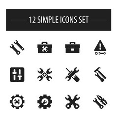 Set of 12 editable tool icons includes symbols vector