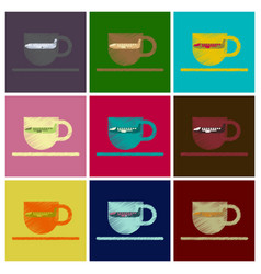 Set of flat icons in shading style airplane cup vector