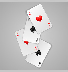 set of four aces playing cards suits poker game vector image