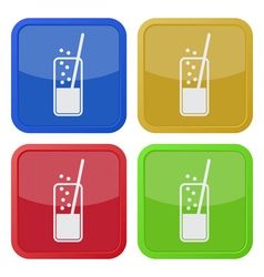 Set of four square icons - glass drink and straw vector