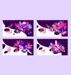set of isometric banners or landing page templates vector image