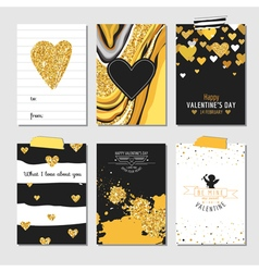 Set of Love Cards with Gold Glitter vector image