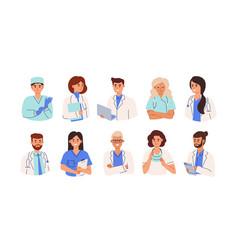 set smiling doctors nurses and paramedics vector image