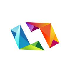 shape 3d colorful diamond logo vector image