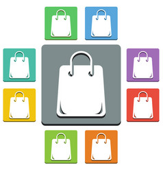 shopping bag icons - almost flat style - 9 colors vector image