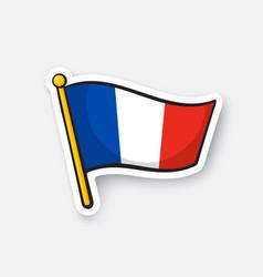 sticker flag france on flagstaff vector image