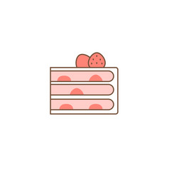 Strawberry layer cake with filling vector