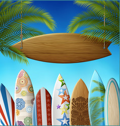 surf sign in palms and surfboards vector image