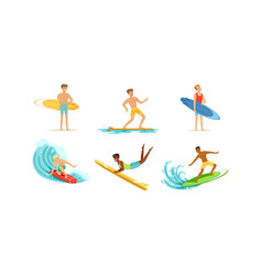 surfing young men collection male surfers vector image