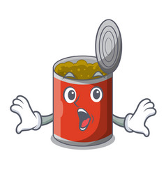 Surprised canned food on the table cartoon vector