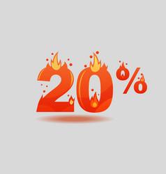 Twenty percent discount numbers on fire vector