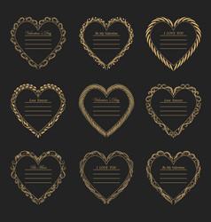 Valentine s day vintage frames on background vector