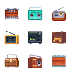 Vintage radio icons set cartoon style vector