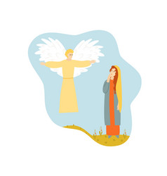 virgin mary with angel annunciation bible scene vector image