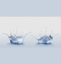Water splash set in shape crown with droplets vector