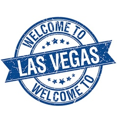 Welcome to Las Vegas blue round ribbon stamp vector