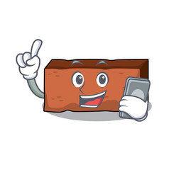 with phone brick character cartoon style vector image