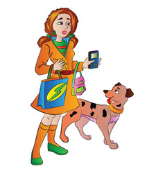 Woman with bags cellphone and a pet dog vector