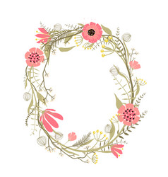 Wreath with flowers decoration vector