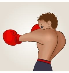 Young boxer in blue short trained on a light vector