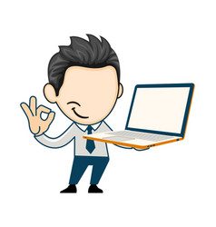 Young business man holding a new brand laptop vector