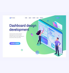 Young people are engaged in dashboard design vector