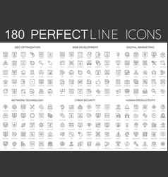 180 modern thin line icons set of seo optimization vector