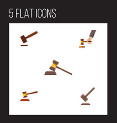 flat icon lawyer set of crime hammer justice and vector image