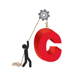 person with pulleys hanging the c symbol vector image