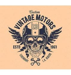 Rider Skull Print vector image vector image