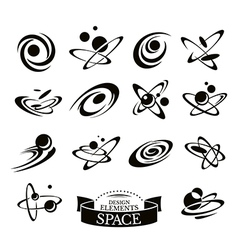 Set of abstract space icons vector image vector image