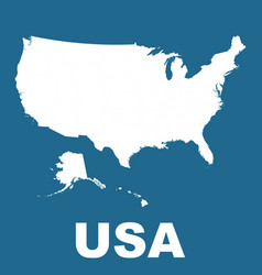 usa map on blue background flat vector image vector image