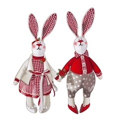 Girl and boy bunny doll in vintage style vector