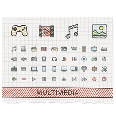 Media hand drawing line icons doodle vector image vector image