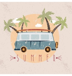 Retro bus with surfboard grunge design template vector
