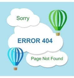 Air balloon with 404 error notification on white vector image vector image
