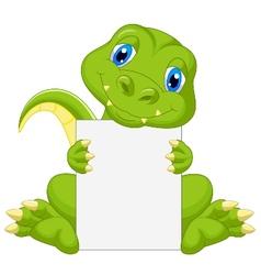 Cute dinosaur cartoon holding blank sign vector image vector image
