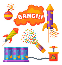 fireworks pyrotechnics rocket and flapper birthday vector image
