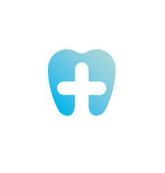 health gradient logo template blue tooth and cross vector image vector image