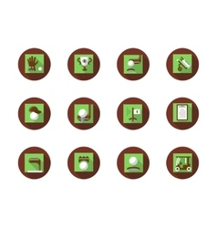 Play golf round flat color icons set vector image vector image