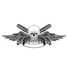 skull in baseball cap and wings vector image vector image