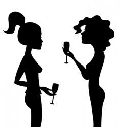 women and wine vector image