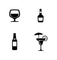 alcohol simple related icons vector image