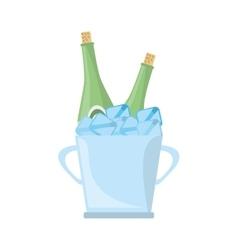 champagne bucket bottle ice design vector image