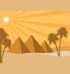 egyptian pyramids in the desert sun rays and vector image vector image