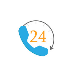 Full time call services flat icon vector