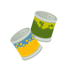 Little iron plastic banks with emblem of peas and vector