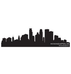 Minneapolis Minnesota skyline Detailed silhouette vector image vector image