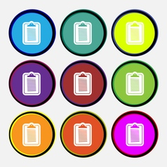 Text file icon sign Nine multi colored round vector image vector image