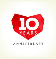 10 anniversary heart logo vector